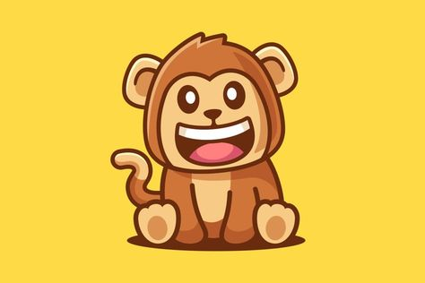 Cute Smiling Monkey Cartoon sit (1346103) | Characters | Design Bundles