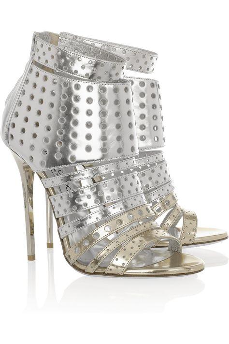 Jimmy Choo|Malika perforated leather sandals|NET-A-PORTER.COM