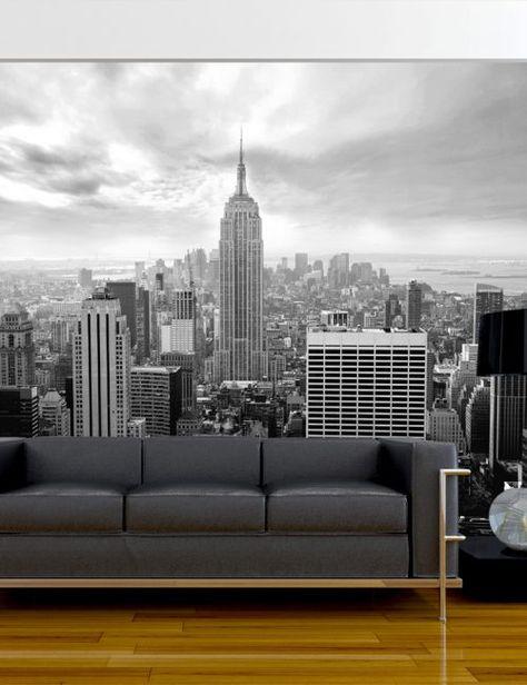 Ora ogni carta da parati anche in versione autoadesiva! Carta Da Parati New York Grigia Carta Da Parati Fotomurale Tema Viaggi New York Decor New York Wallpaper Living Room Partition Design