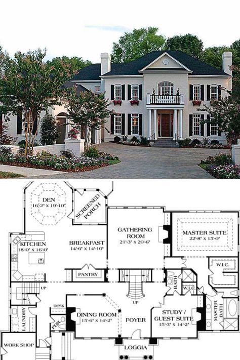 Two-Story Georgian Home with Twin Chimneys (Floor Plan) Colonial House Plans, French Country House Plans, Southern House Plans, Craftsman House Plans, Southern Living, Colonial Mansion, Luxury Floor Plans, Luxury House Plans, Dream House Plans