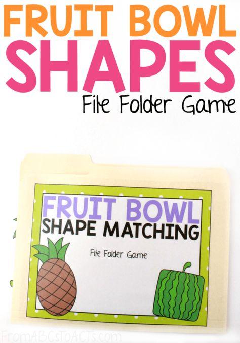 Fruit Bowl Shape Matching File Folder Game | File folder games ...