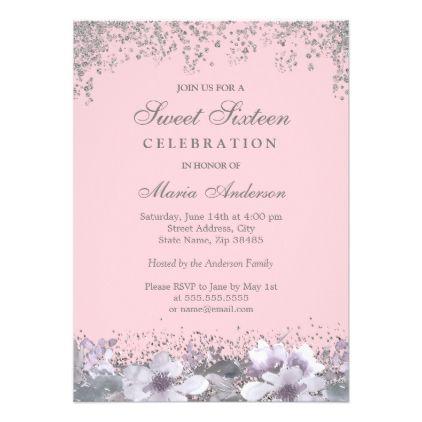 Pink Purple Silver Glitter Sweet 16 Invite
