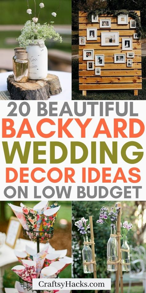 Are you looking for outdoor wedding ideas to decorate wedding on a low budget? Check out these DIY wedding decorations and save money while doing a backyard wedding. wedding chairs 20 Creative Backyard Wedding Ideas on a Budget - Craftsy Hacks Diy Outdoor Weddings, Wedding Decorations On A Budget, Wedding Backyard, Wedding Planning On A Budget, Rustic Diy Wedding Decor, Small Backyard Weddings, Weddings On A Budget, Small Wedding Decor, Garden Wedding Ideas On A Budget