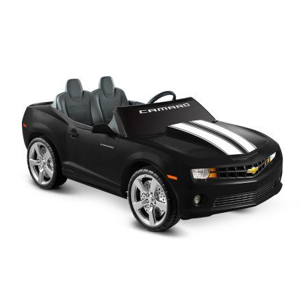 Kid Motorz Chevrolet Camaro 12 Volt Battery Operated Ride On Black With Racing Stripes Walmart Com Black Camaro Chevrolet Camaro Camaro