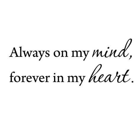 Always On My Mind Forever In My Heart Love Wall Decals Inspirational Quotes VWAQ-564