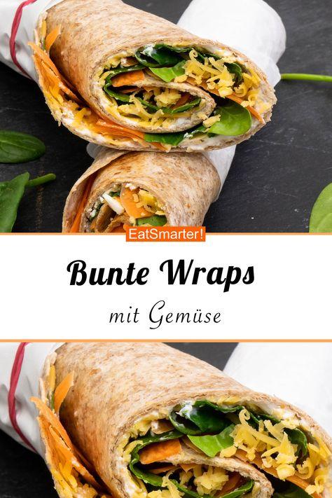 Bunte Wraps Mit Gemuse Rezept Rezepte Wraps Rezept Vegetarische Wraps