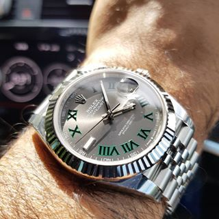 Rolex Datejust 41 Wimbledon on wrist in 2020