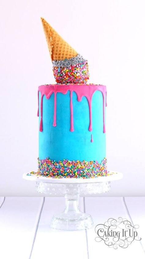 Melting Ice Cream Birthday Cake With Sprinkles