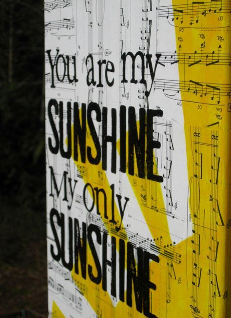 """8x10 """"you are my sunshine"""" hand painted, hand stamped. $20.00, via Etsy."""