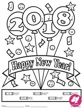 New Year Music Color By Note Activities Music Coloring Pages