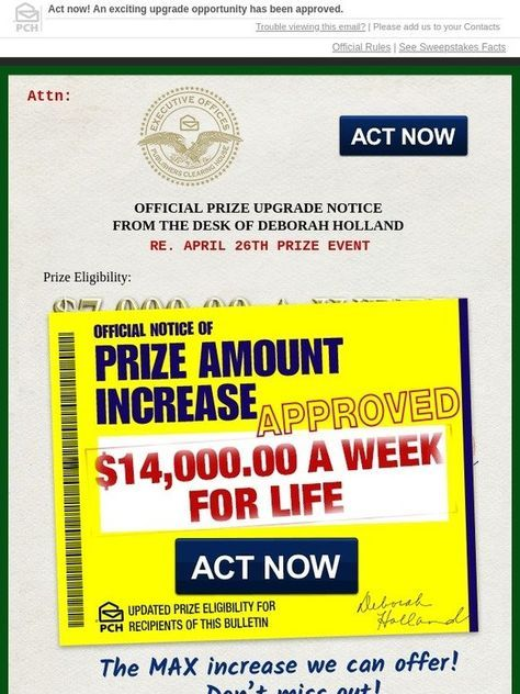 """PCH $5,000 00 A Week """"Forever"""" Gwy #11000 YES I WOULD LOVE"""