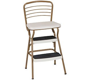Cosco Stylaire Retro Chair Step Stool With Flip Up Seat Qvc Com Retro Chair Step Stool Counter Height Chairs