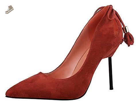 fc0ea2a12c3c9 T&Grade Women Fashion Suede Vamp Low Cut Slip On Tassel Pointed Toe ...