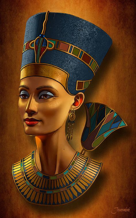 Nefertiti Egyptian Queen On Papyrus Art Print by Jovemini ART.  All prints are professionally printed, packaged, and shipped within 3 - 4 business days. Choose from multiple sizes and hundreds of frame and mat options.