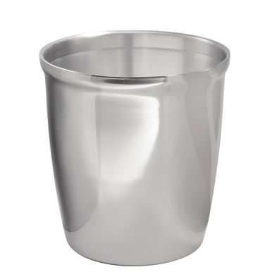 Small Polished Metal Round Trash Can 10 24 High Garbage