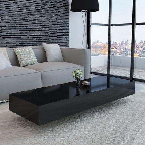 Large Black High Gloss Coffee Table Rectangular White Modern Long