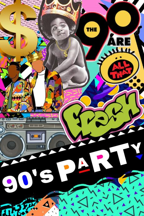 Customize this design with your video, photos and text. Easy to use online tools with thousands of s Party Kulissen, Party Flyer, Party Ideas, Flamingo Party, 90s Theme Party Decorations, 90s Theme Party Outfit, 90s Outfit, Bottle Label, Decade Party