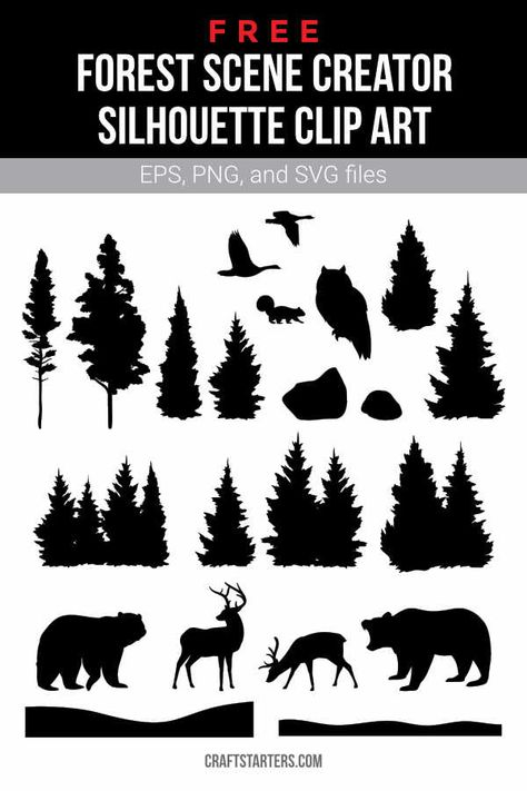Free forest scene creator silhouette clip art in EPS, PNG (transparent), and SVG formats.