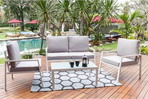 BEAU RIVAGE Salon de jardin 4 places avec banquette et ...