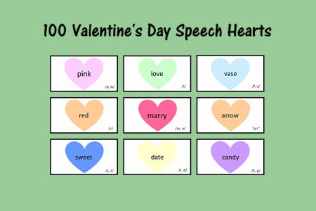 Speech Therapy Ideas: 100 Valentine's Day Speech Hearts. Pinned by SOS Inc. Resources. Follow all our boards at pinterest.com/sostherapy/ for therapy resources.