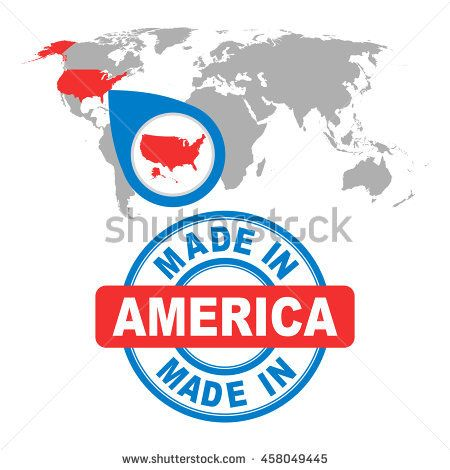 Made in america usa stamp world map with red country vector world map with red country vector emblem in gumiabroncs Images