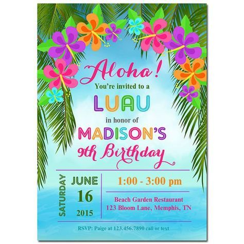 Get Ready For A Terrific Celebration With Personalized Luau Party Invitation This Could Be Used Summer Pool Birthday