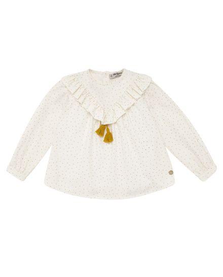 Blusa de niña Pili Carrera de algodón en color marfil