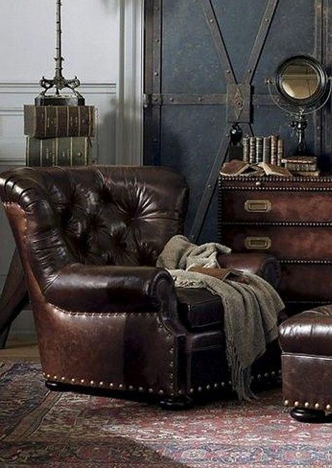 Worn, black leather Wingback Chair with nailhead trim ZsaZsa ...