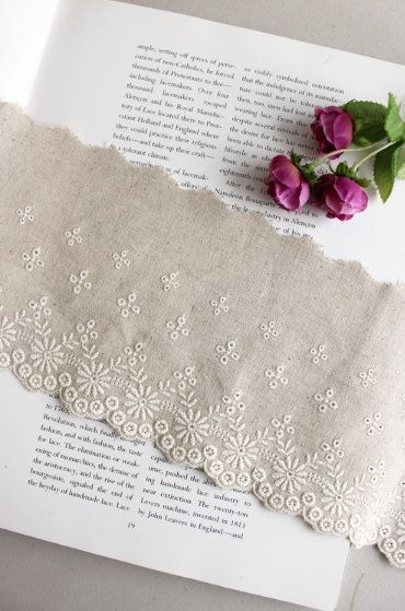 Embroidered Linen Lace Trim By The Yard Width 12 Cm 96283 By