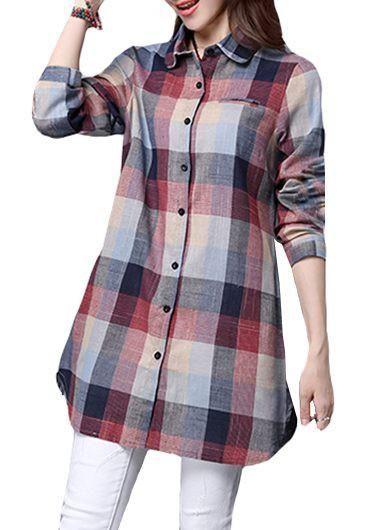 rotita.com - unsigned Plaid Print Long Sleeve Turndown Collar Curved Shirt - AdoreWe.com