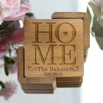 Le Prise Personalized Engraved Coaster Set With Holder Wayfair In 2020 Engraved Coasters Engraved Bamboo Wood Coasters