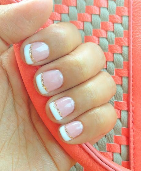 Pink Gel Manicure And French Tip With Gold Glitter Lining Gel Manicure Cute Nails Manicure