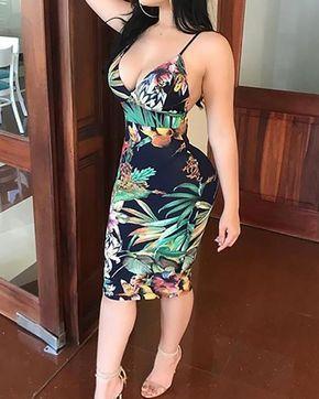 Tropical Print Backless Bodycon Slip Dress , 25.99 $  # #Bodycon