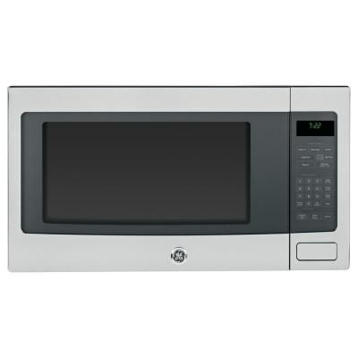 Ge Profile 2 2 Cu Ft Countertop Microwave In Stainless Steel With Sensor Cooking Peb722 Stainless Steel Countertops Stainless Steel Oven Countertop Microwave