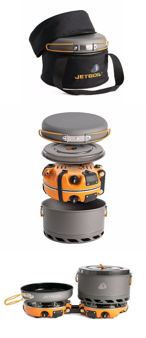 "The Jetboil Genesis Base Camp 2 Burner System is a group cook stove for meal time at base camp. Included with the dual burners is a 10"" fry pan, a 5L FluxPot with lid, and a carrying case to keep them all together while traveling. This can quickly get 1 liter of water to boil, in 3 minutes, 15 seconds to be exact. Plus, if you need some additional water on the side, you can always purchase the Luna Satellite Burner separately and attach it to the Genesis. Genesis or genius? You figure it…"