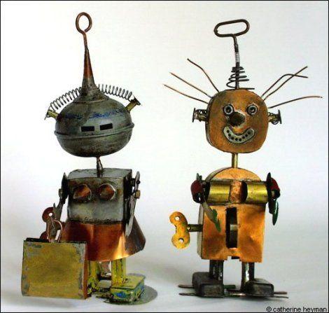 jouets, Couple des robots, monsieur pectotaux et madame panier