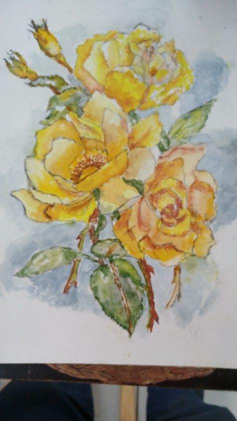 Roses D Apres Un Calque Du Livre Fleurs A L Aquarelle Fleurs A L