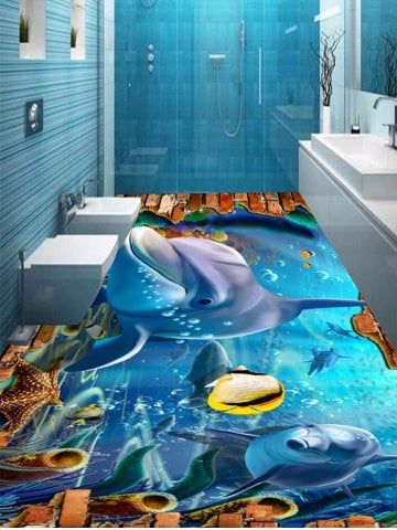 3d Underwater World Dolphin Floor Stickers Floor Stickers Floor Decal Floor Wallpaper