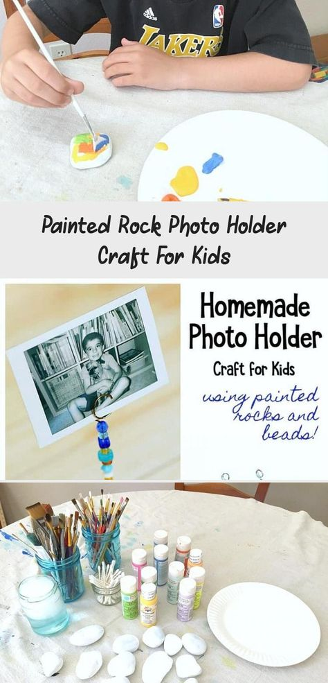 Painted Rock Photo Holder Craft for Kids: These make perfect homemade gifts for Christmas, Mother's Day or any special day! A fun art project for children of all ages! #buggyandbuddy #rockpainting #homemadegift #craftsforkids #kidscrafts #artforkids #artprojects #Gardencrafts #Recycledcrafts #Canvascrafts #Schoolcrafts #Buttoncrafts