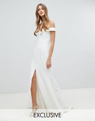 Jarlo Bardot Maxi Dress With Thigh Split And Train Detail White Bridal Dresses Dresses Jarlo Dresses