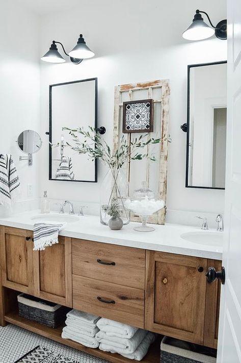 Modern Farmhouse Bathroom, Wood Vanity, Rustic Bathroom, Bathroom Interior, Bathroom Decor, Bathroom Redo, Bathrooms Remodel, Rustic Remodel, Bathroom Design