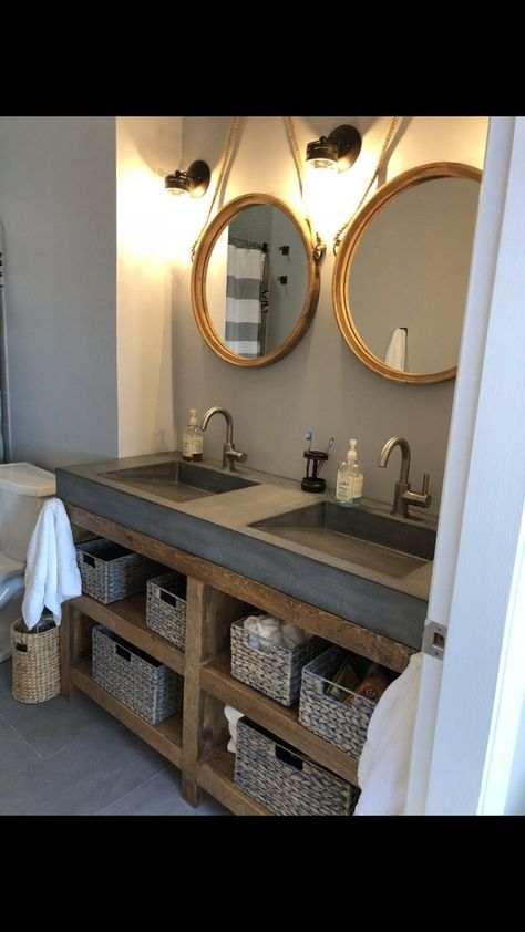 Double concrete sink vanity with wood stand – Bathroom Inspiration Concrete Sink Bathroom, Bathroom Sink Design, Double Sink Bathroom, Bathroom Interior Design, Master Bathroom, Trough Sink Bathroom, Diy Bathroom Furniture, Open Bathroom Vanity, Rustic Bathroom Sinks