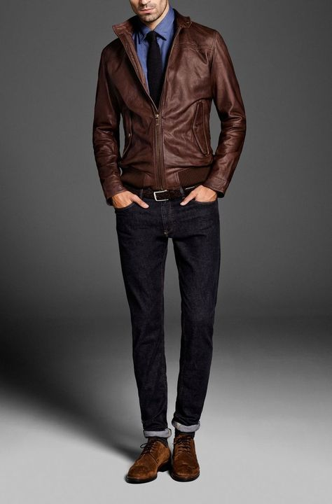 How to Wear a Brown Leather Bomber Jacket For Men looks & outfits)