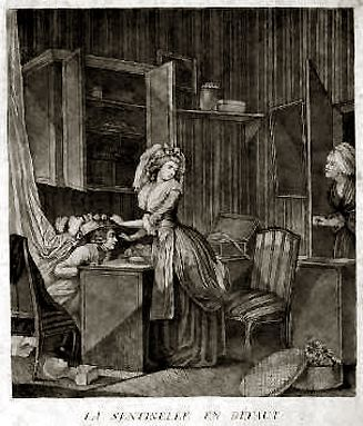 La Sentinelle en défaut by Pierre-Antoine Baudouin.  The Sentinal by Default.  A maid has been enlisted to stand look-out as a woman and her lover engage in a clandestine liaison.  ~LMB
