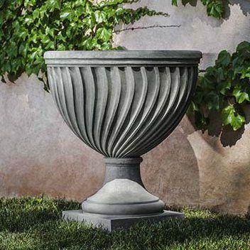 Campania International Quadrille Cast Stone Urn Planter Color Alpine Stone