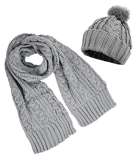 3d640f2d967 Womens Knitted Pom Pom Beanie Cap with Knitted Scarf Set Two Piece, White  at Amazon Women's Clothing store: