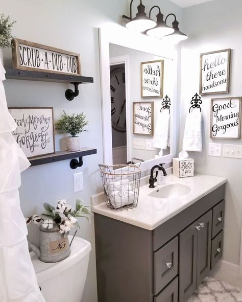 19 Light Blue Bathroom Decor In 2020 Small Bathroom Decor Farmhouse Bathroom Decor Bathroom Mirror