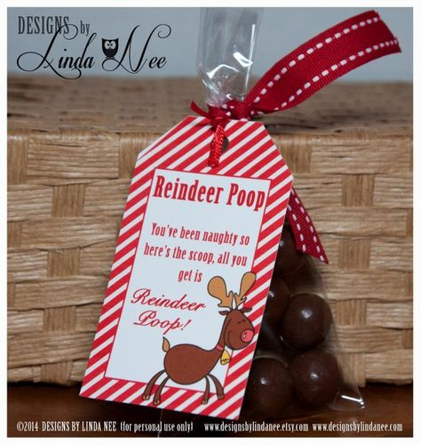 Reindeer Poop Brights - Gift Tag Label - Printable - Party Package - Rudolph - Craft Fair - Favors -