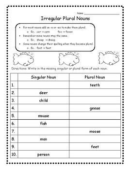Singular and plural nouns worksheets Awesome