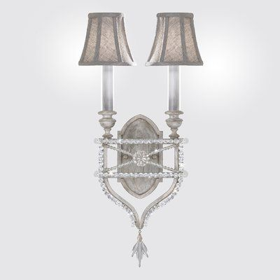 Fine Art Lamps Prussian Neoclassic 2 Light Candle Wall Light With Shade Finish Silver In 2021 Fine Art Lamps Wall Candles Wall Sconce Lighting